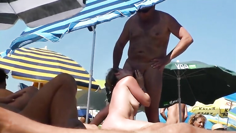 Bold public blowjobs on the beach from sexy wives