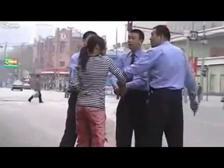 Asian girl peed her pants on a public street