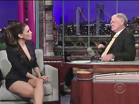 Eva Longoria shows amazing cleavage on a talk show