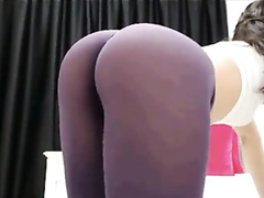 Flawless bubble butt in sheer tights on webcam