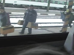 Blowjob on a train at the station