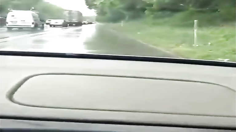 Shameless doll makes water on the highway