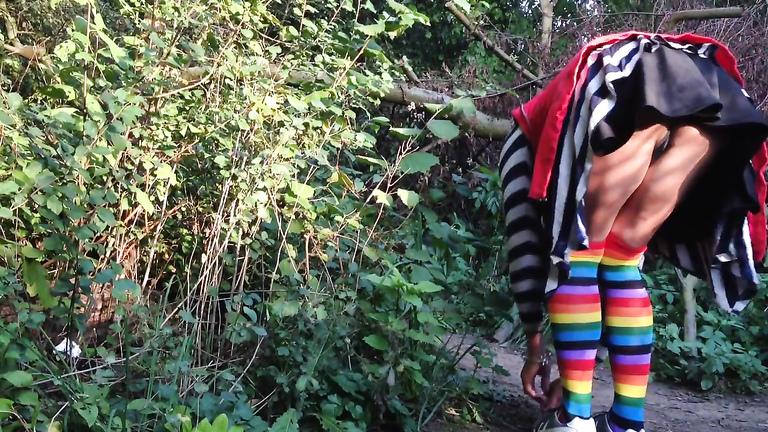 Ass flashing upskirt in the woods