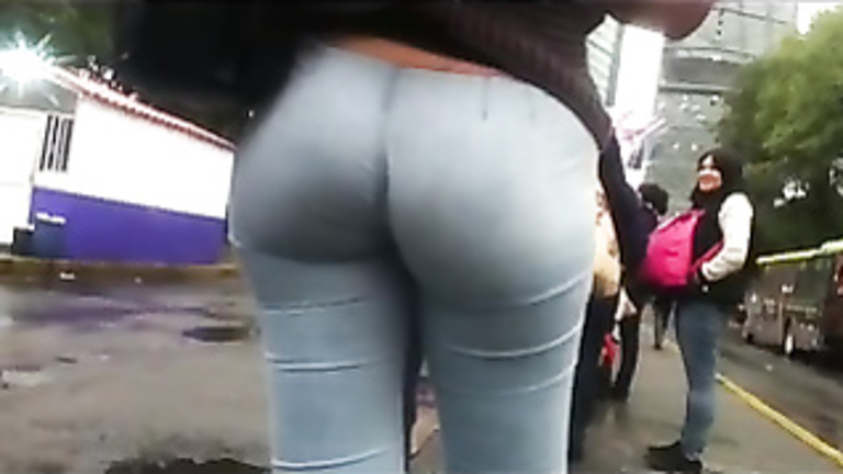 Pants like a second skin on her amateur ass