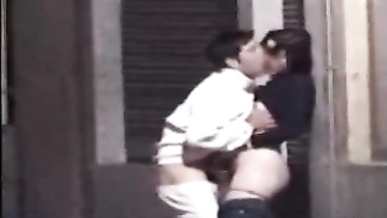 Nasty French friends making love on the sidewalk
