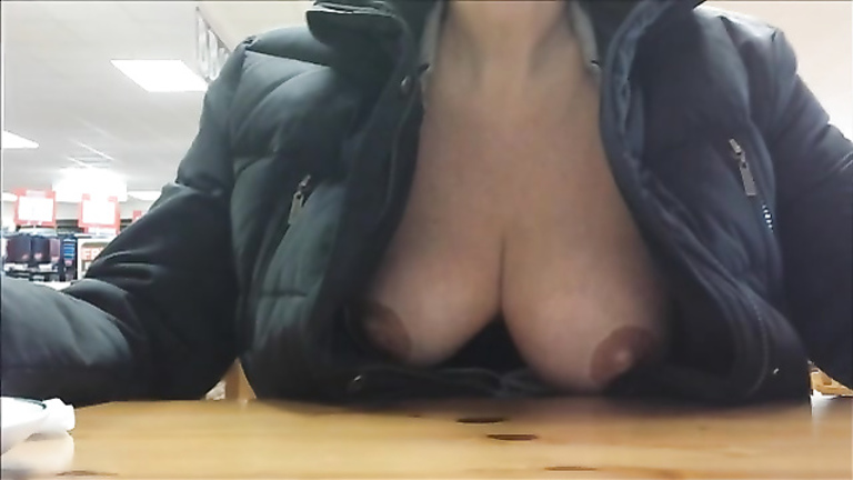 Natural tits flashed by my lovely wife