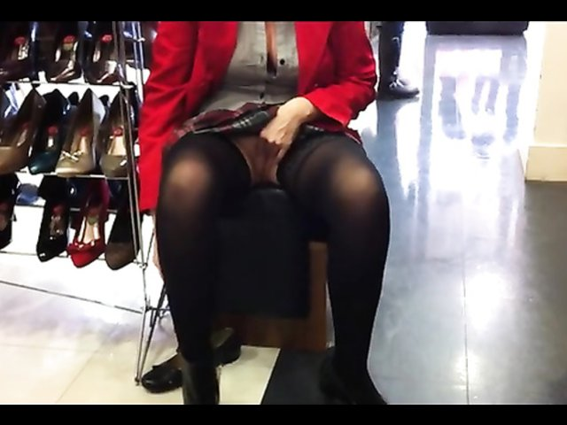Masturbating while trying out new shoes