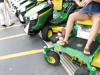 Awesome upskirt pussy while we shop for lawnmowers