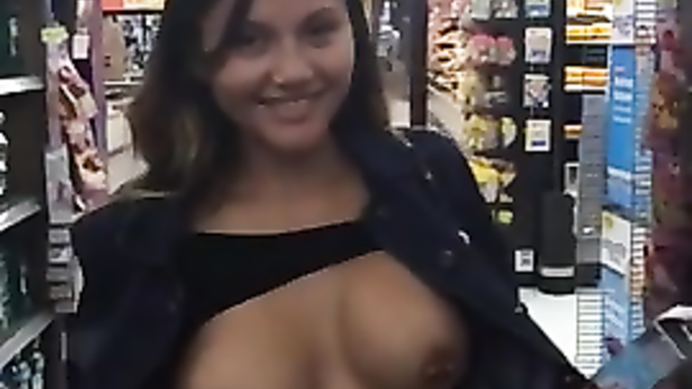 Cutie flashes pierced tits on camera for horny friend