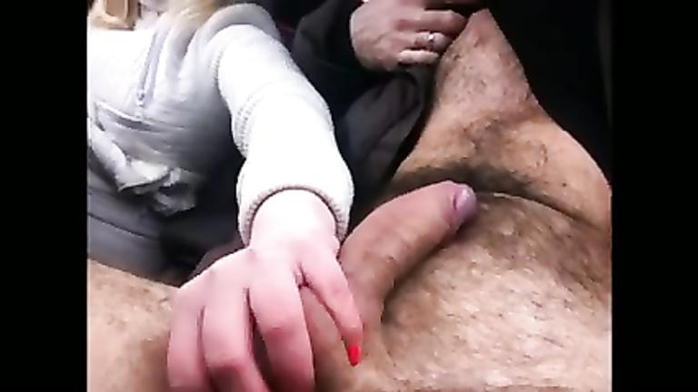 Quick Car Handjob Makes Him Cum Hard