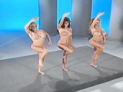 Busty trio in the retro performance