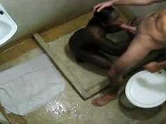 Big white dick bangs her black pussy in the bathroom