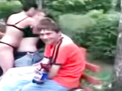 Russian hookers in underwear hook up on a public bench