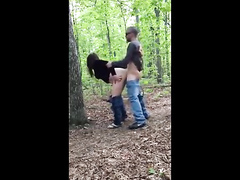 Brunette hooker banged in the woods and filmed in secret