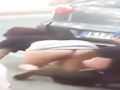 Vagina poking between the cars
