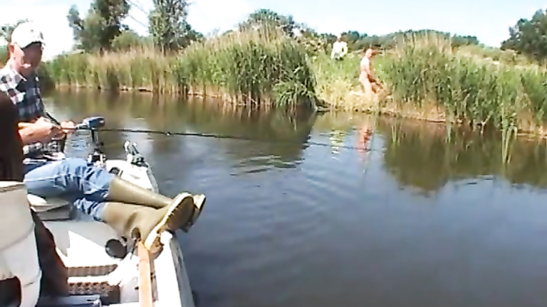 Fisherman tapes nudist swingers copulating in the bushes