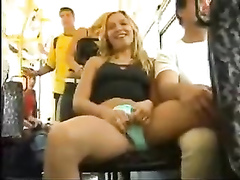 Playful bombshell flashes her crotch in the bus