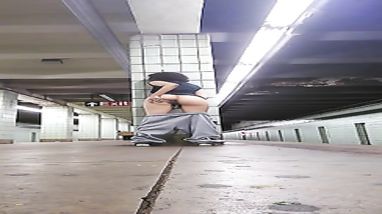 Big butt amateur masturbates in a subway station