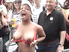 Amateurs convinced to flash their tits at a street fair