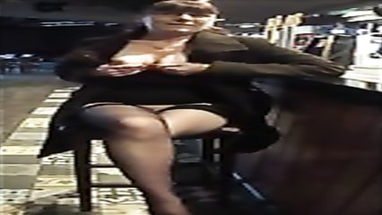 My slutty wife flashes her genitals at the bar