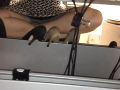 Upskirt show under the desk at work